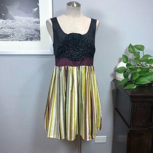 Anthropologie Burlapp striped flower dress Sz M